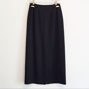 Pure wool midi or maxi skirt with gold hardware